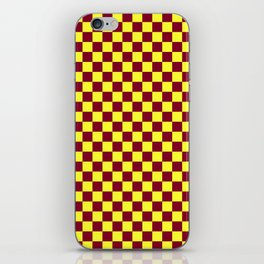Electric Yellow and Burgundy Red Checkerboard iPhone Skin