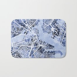 Boston Massachusetts Street Map Bath Mat