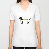 hot dog V-neck T-shirts featuring Hot Dog by Lucy Conklin