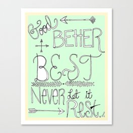 Mint Motivation  Canvas Print