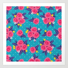 Polka Dot Roses Art Print