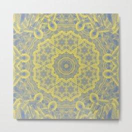 Dusty blue and yellow mandala Metal Print