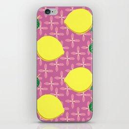 Yellow lemons on pink flower pattern iPhone Skin