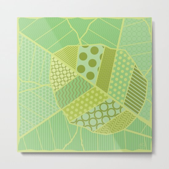 The Unique One (Green Patterned Leaf Patchwork) Metal Print