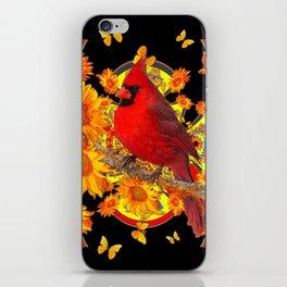 BUTTERFLIES  RED CARDINAL SUNFLOWERS BLACK ART iPhone Skin