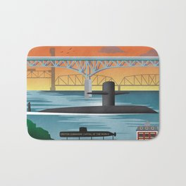 Groton, CT - Retro Submarine Travel Poster Bath Mat