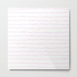 Simply Wavy Lines in Desert Rose Pink Metal Print