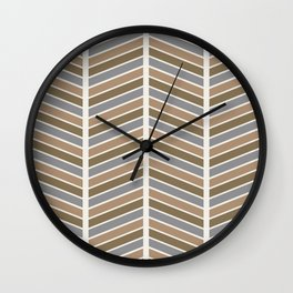 Chevron Pattern - Neutral Brown and Grey Wall Clock