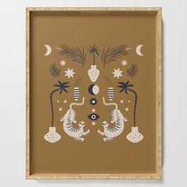 Mid Century Magic Cool Minimal Minimalist Neutral Tones Fantasy Abstract Illustration Moon Sun Tiger Chinese Zodiac Serving Tray