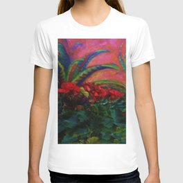 RED GERANIUMS GREEN SUCCULENT PAINTING T-shirt
