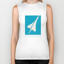 Concorde Supersonic Jet Airliner Aircraft - Cyan Biker Tank