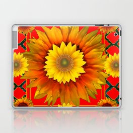 RED-GREY DECO YELLOW SUNFLOWERS MODERN ART Laptop & iPad Skin