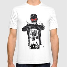 SKATE OR DIE White Mens Fitted Tee SMALL