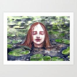 Girl in a lake, watercolor Art Print