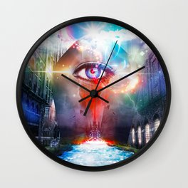 One Eye That Sees Beyond a World Divided Wall Clock