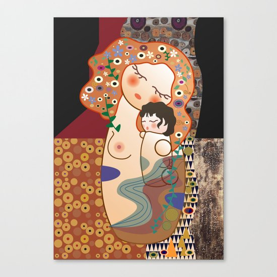 Kokeshi Mother&child Canvas Print