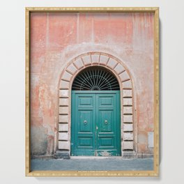 Turquoise Green door in Trastevere, Rome. Travel print Italy - film photography wall art colourful. Serving Tray