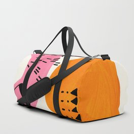 Vintage Abstract Mid Century Modern Playful Pink Yellow Ochre Organic Shapes Duffle Bag