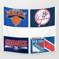 sports Wall Tapestries featuring NEW YORK SPORTS TEAM by RickART