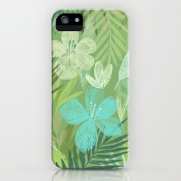 Tropical Flowers and Leaves (bright) iPhone Case