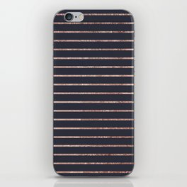 Elegant Chic Rose Gold Stripes and Navy Blue iPhone Skin