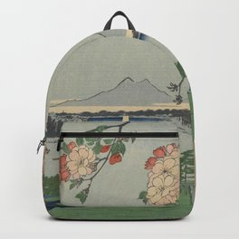 Cherry Blossoms on Spring River Ukiyo-e Japanese Art Backpack