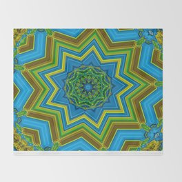 Lovely Healing Mandalas in Brilliant Colors: Blue, Yellow, Gold, and Green Throw Blanket