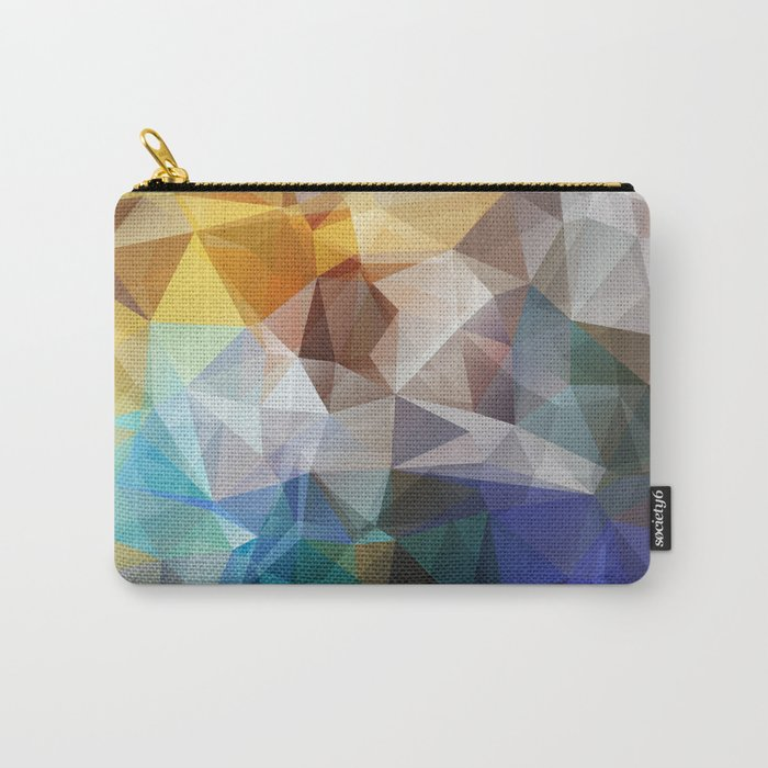 Abstract background of triangles polygon print. Bright design colors Carry-All Pouch