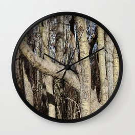 CROWDED GNARLED ASPEN TREES ON CRESCENT BEACH Wall Clock
