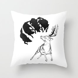 Deer hunted by Wolves Throw Pillow