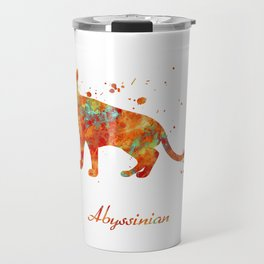 Abyssinian Cat Watercolor Orange Light Blue Abstract Travel Mug