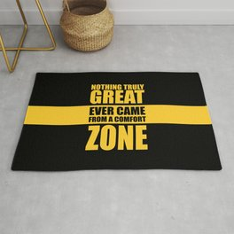 Lab No. 4 - Nothing Truly Great Ever Came From A Comfort Zone Gym Inspirational Quotes Poster Rug