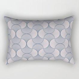 Flower Petals - Abstract Shapes Geometric Blue Rectangular Pillow