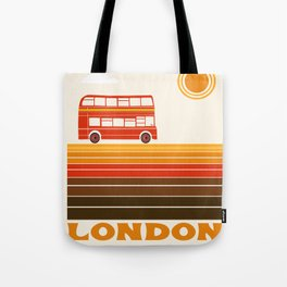 London travel poster 70s style colors doubledecker bus england anglophile Tote Bag