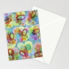 Lovely Pattern with Red Rings Stationery Cards