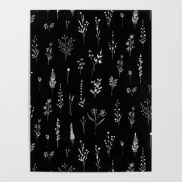 Black wildflowers Poster