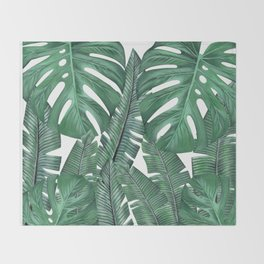 Tropical Leaves Art Print Throw Blanket