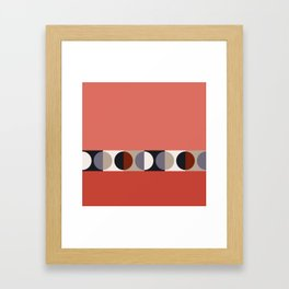 malevich moon || tomato pink Framed Art Print