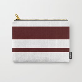 Mixed Horizontal Stripes - White and Bulgarian Rose Red Carry-All Pouch