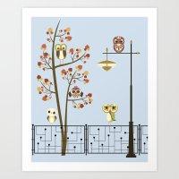Owl Keep the Atomic Light On Art Print