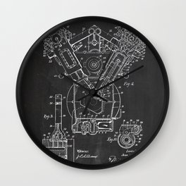 Patent combustion engine Wall Clock