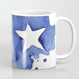 Stars Abstract Blue Watercolor Geometric Painting Coffee Mug