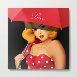 Pin-up Girl under red umbrella Metal Print