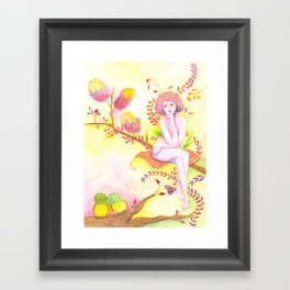 Women thinking and two little birds Framed Art Print