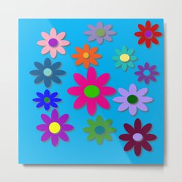 Flower Power - Blue Background - Fun Flowers - 60's Hippie Style Metal Print