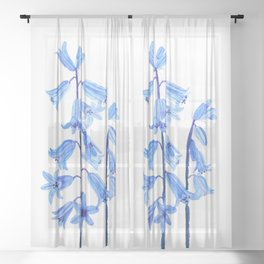 botanical bluebell flowers watercolor Sheer Curtain
