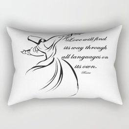 Love Will Find Its Way Through All Languages Rumi Quote Rectangular Pillow