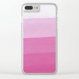 Pink Ombre Stripes Clear iPhone Case