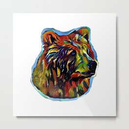 Kaleidoscope Bear on White Metal Print