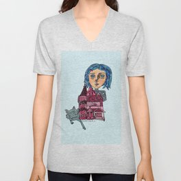Coraline and Kitty Unisex V-Neck